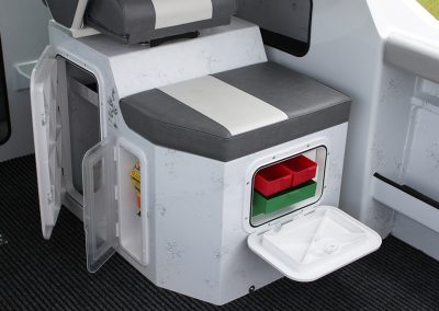 Different Seat Configurations wit tackle Box, Epirb Storage & loads of space under seats