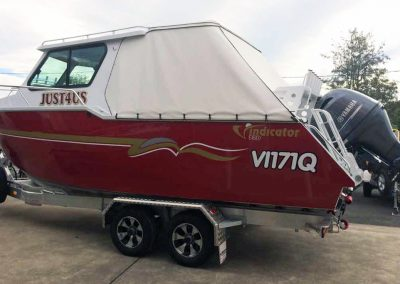 Vindicator 770 Boat & Trailer with overnight camping covers