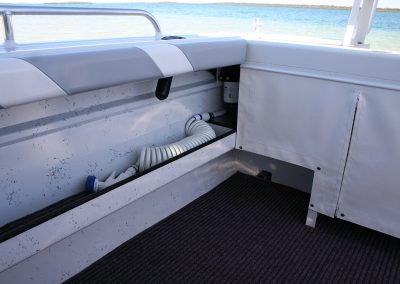 Vindicator Knee Rails for Comfortable Fishing and Deck wash hose.