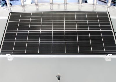 Solar Panel on Roof of Vindicator Half Cabin Boat